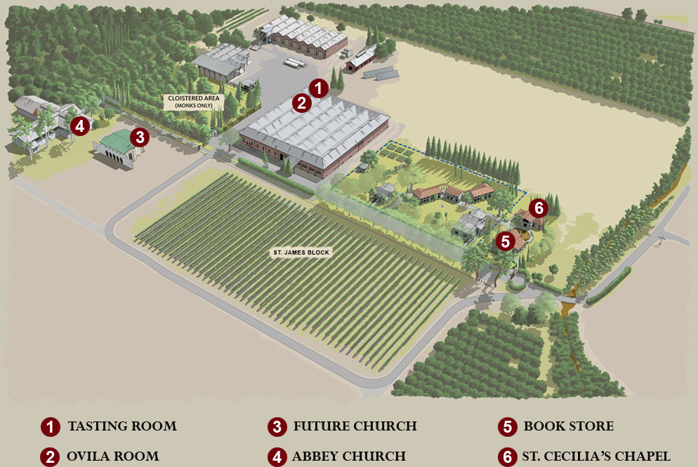 Map of the grounds with legend.